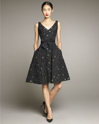 David Meister | Black Dot-print Full-skirt Dress | Lyst