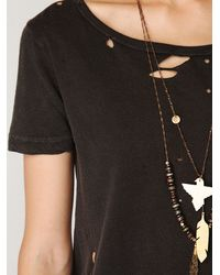 Free People | Black Destroyed Slouchy Tee | Lyst
