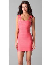 Hervé Léger | Pink Crisscross Strap Dress | Lyst