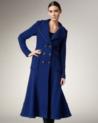 Nanette Lepore - Blue Leather-trim Long Coat - Lyst