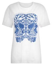 Alexander McQueen | Blue Tiger Double Skull T-shirt for Men | Lyst