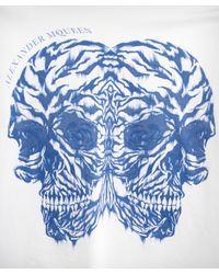 Alexander McQueen - Blue Tiger Double Skull T-shirt for Men - Lyst