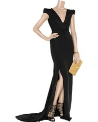 Antonio Berardi | Black Strong-shouldered Jacquard and Crepe Gown | Lyst