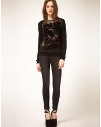 ASOS Collection - Black Asos Oversize Top with Flocked Bird - Lyst