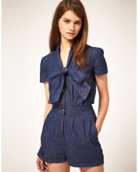 ASOS Collection - Blue Asos Pussybow Denim Playsuit - Lyst