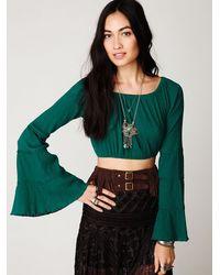Free People | Green Bell Sleeve Crop Top | Lyst