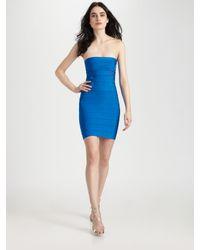 Hervé Léger - Blue Strapless Dress - Lyst