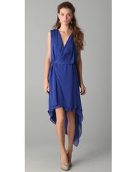 Max Azria | Blue Hi Low Drape Front Dress | Lyst