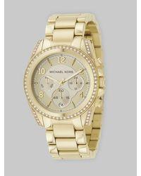 Michael Kors   Metallic Blair Goldtone Stainless Steel Chronograph Bracelet Watch   Lyst