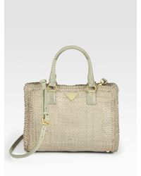 Prada | Natural Madras Double Handle Small Tote Bag | Lyst