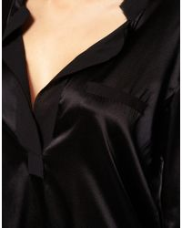 Princesse Tam-Tam | Black Silk Satin Top | Lyst