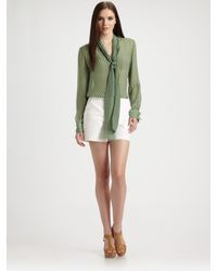 Raoul | Green Sheer Silk Striped Blouse | Lyst