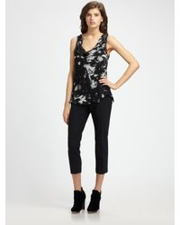 Theory | Black Playida Floral Print Top | Lyst