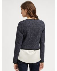 Theory - Blue Ladonia Cropped Tweed Jacket - Lyst