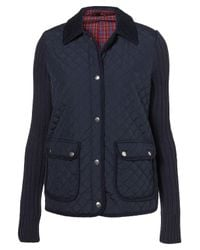 TOPSHOP Blue Knitted Sleeve Camilla Quilted Jacket