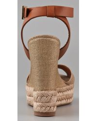 Tory Burch - Metallic Criss Cross Ankle Strap - Gold Linen Espadrille Wedge - Lyst