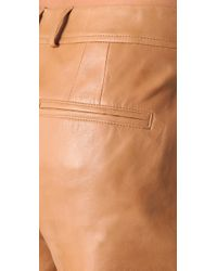 Vince   Brown Lambskin Leather Shorts   Lyst