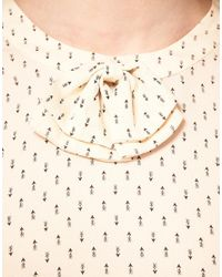 Whistles | Natural Cupid Blouse With Bow Detail | Lyst