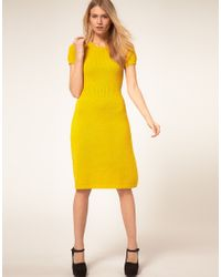 ASOS Collection Yellow Asos Petite Exclusive Knitted Midi Dress