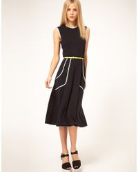 ASOS Collection Natural Midi Dress with Belt and Pleat Detail