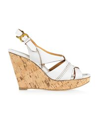 Chloé White Leather Wedges