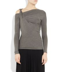 Donna Karan | Gray Twisted Stretch-jersey Top | Lyst