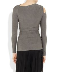 Donna Karan Gray Twisted Stretch-jersey Top