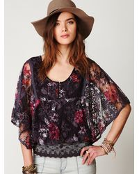 Free People - Purple Floral Chrissy Lace Top - Lyst