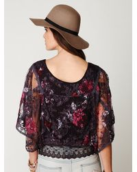 Free People Purple Floral Chrissy Lace Top