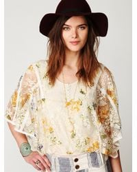 Free People Multicolor Floral Chrissy Lace Top