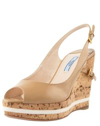 Prada - Natural Patent and Cork Slingback Wedge - Lyst