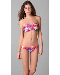 Alice + Olivia - Multicolor Floral Bandeau Bikini Top - Lyst