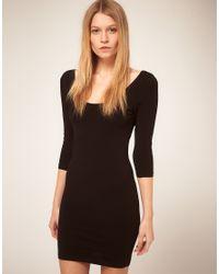 ASOS Collection Black Asos 3/4 Sleeve Bodycon Dress
