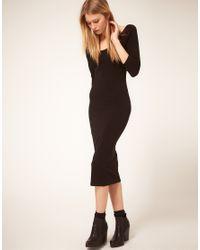 ASOS Collection - Black Asos 3/4 Sleeve Midi Bodycon Dress - Lyst