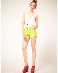 ASOS Collection | Asos Neon Green High Waist Denim Hotpants | Lyst