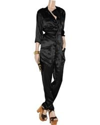 Bess - Black Nostromo Silk-satin Jumpsuit - Lyst