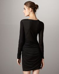 Catherine Malandrino | Black Drape-neck Long-sleeve Dress | Lyst
