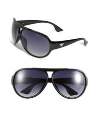 Emporio Armani | Black Plastic Aviator Sunglasses for Men | Lyst
