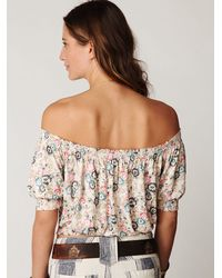 Free People | Multicolor Printed Gypsy Off The Shoulder Top | Lyst