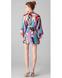 Issa - Blue Tahiti Print Short Kimono Dress - Lyst