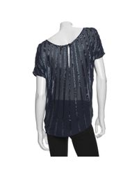 Joie Black Thick Striped Beaded Blouse