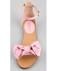 RED Valentino - Pink Bow Flat Sandals - Lyst