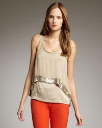 Robert Rodriguez | Natural Beaded-hem Double-layer Tank | Lyst