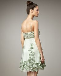 Sue Wong - Green Leaf-embellished Cocktail Dress - Lyst