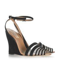 Valentino | Black Suede and Mesh Peep-toe Wedge Sandals | Lyst