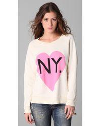 Wildfox - White Original Gidget Bi-coastal Girl Sweatshirt - Lyst