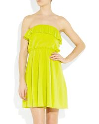 Alice + Olivia - Green Ashton Ruffled Stretch Silk-crepe Dress - Lyst