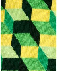Happy Socks | Green Happy Socks Cube Pattern Socks for Men | Lyst