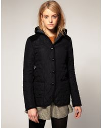 ASOS Collection | Black Asos Hooded Quilted Jacket with Spot Lining | Lyst