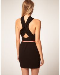 ASOS Collection - Black Asos Petite Exclusive Dress with Twist Front Neck and Neon Belt - Lyst
